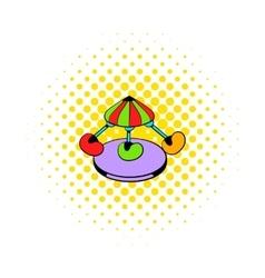 Children carousel icon comics style vector image