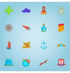 Columbus day icons set cartoon style vector