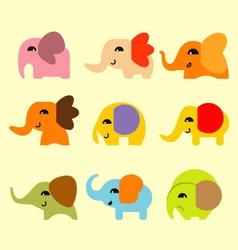 Cute coloful elephant vector