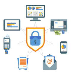 data security poster with elements on vector image vector image