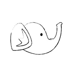 elephant head cartoon vector image