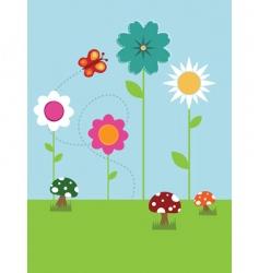 flower landscape vector image