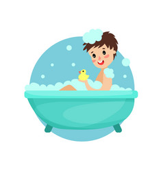 girl taking bath in foam and soap woman caring vector image