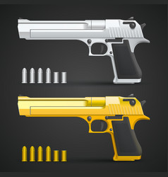 Gold and silver gun vector
