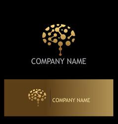 Gold brain technology logo vector