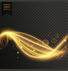golden swirl transparent light effect vector image vector image