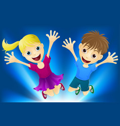 Happy children jumping for joy vector