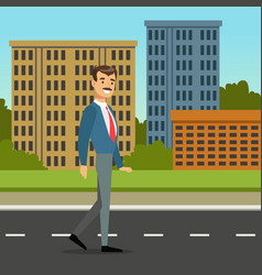happy mustached man walking down the street city vector image vector image