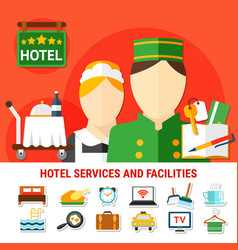 Hotel facilities background vector