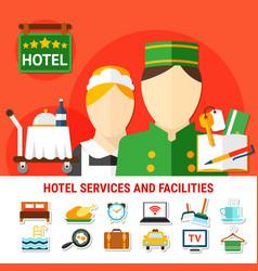 Hotel facilities background vector
