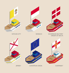 Isometric ships with flags of european countries vector