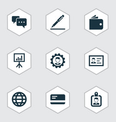 Job icons set collection of chatting billfold vector