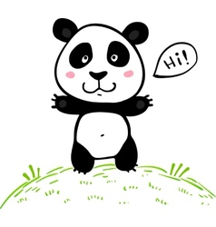 Little cute doodle drawing panda vector image