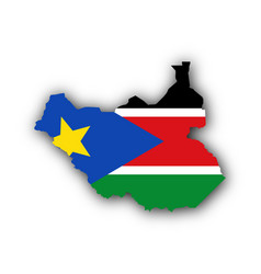 map and flag of south sudan vector image