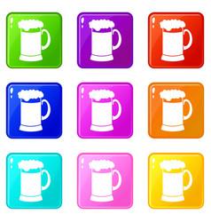 Mug of dark beer icons 9 set vector