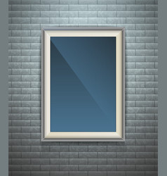 Realistic blank poster in a wooden picture frame vector