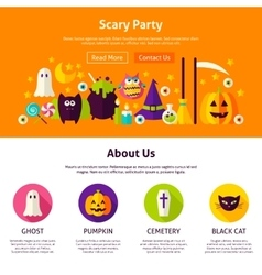Scary party web design template vector