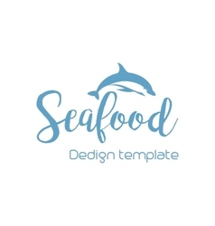 Seafood lettering design with dolphin vector