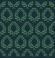 Seamless pattern with laurel branches on a blue vector