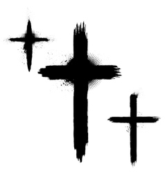 Set of abstract grunge crosses vector