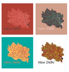 Set of new delhi map flat style design - vector