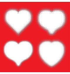 Set of white hearts halftone icons vector
