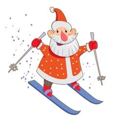 Skiing Santa vector image