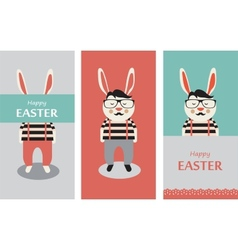 Three of hipster rabbits vector