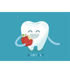 Tooth eating apple vector image