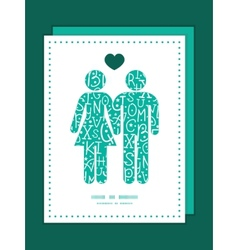 white on green alphabet letters couple in love vector image