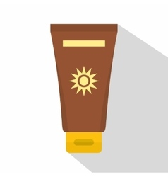 Cream sun protection icon flat style vector