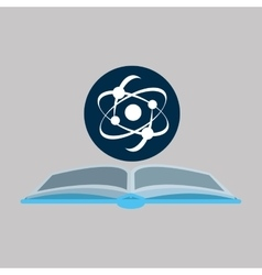 chemical glove with atom science icon vector image