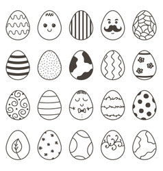 Set of cute monochrome doodle easter easter vector