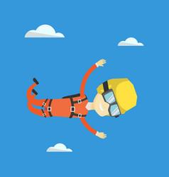 Asian parachutist jumping with parachute vector