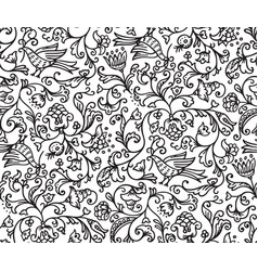 Seamless floral pattern background with birds and vector
