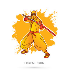Yellow ninja and sword vector