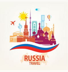 Russia travel background set of famous russian vector