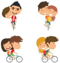 Cute couple on bikes vector