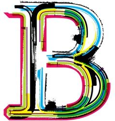 Grunge colorful font Letter B vector image