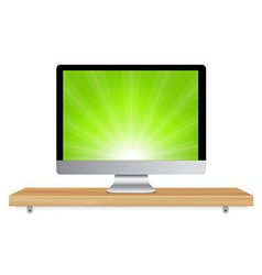 Monitor icon wooden shelf vector
