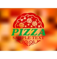 Pizza label on red colorful background vector