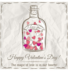 Valentine card with jar filled with hearts and wis vector