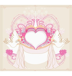 Romantic card with love birds vector