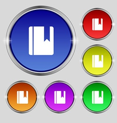 Book bookmark icon sign round symbol on bright vector