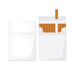 Opened and closed cigarette pack vector