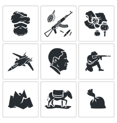 Set of afghanistan icons vector