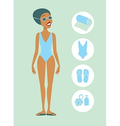 Woman ready to swim vector