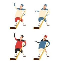Set of hockey players vector