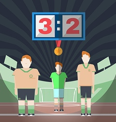 Soccer match players on the playfield with medal vector