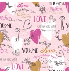 Pink background with valentine heart flower vector